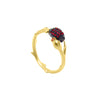 Branch shaped ring with a cocoa pod and flower bud, with red zirconia stones in gold vermeil