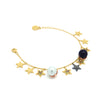 Star charm bracelet with multicoloured zirconia stones and a white and black pearl, in gold vermeil