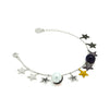 Star charm bracelet with multicoloured zirconia stones and a white and black pearl, in sterling silver