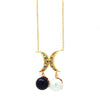 Crescent moon pendant necklace with multicoloured zirconia stones and a black and white pearl charm, in gold and rose gold vermeil