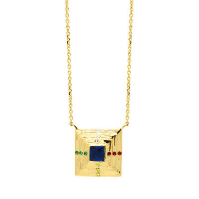 Pyramid shaped pendant with an array of colourful zirconia stones in gold vermeil