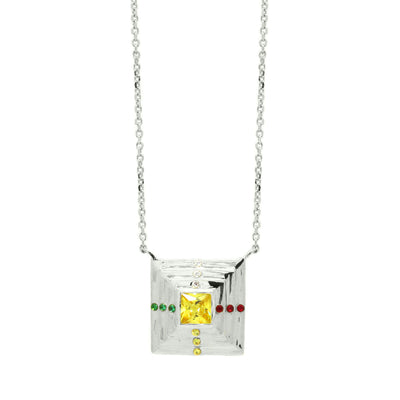 Pyramid shaped pendant with an array of colourful zirconia stones in sterling silver