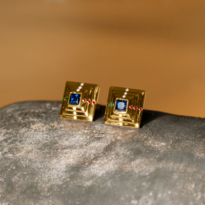Duality Point Stud Earrings - Gold