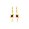 Red garnet long flower earrings in gold vermeil