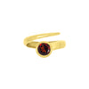 Red garnet wrap around ring in gold vermeil.