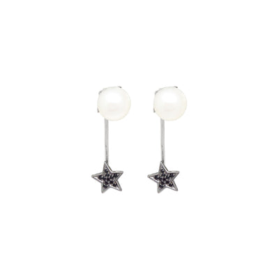 White pearl and star earrings with black zirconia stones in sterling silver