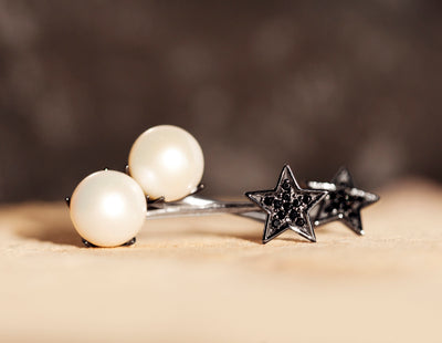 Luna Estrella Stud Earrings - Silver