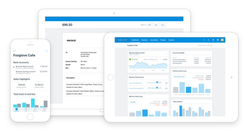 Xero Dashboard view desktop and mobile