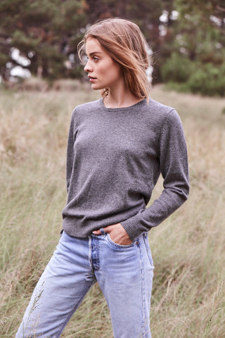 Daisy Crew Neck in Charcoal Marle Grey