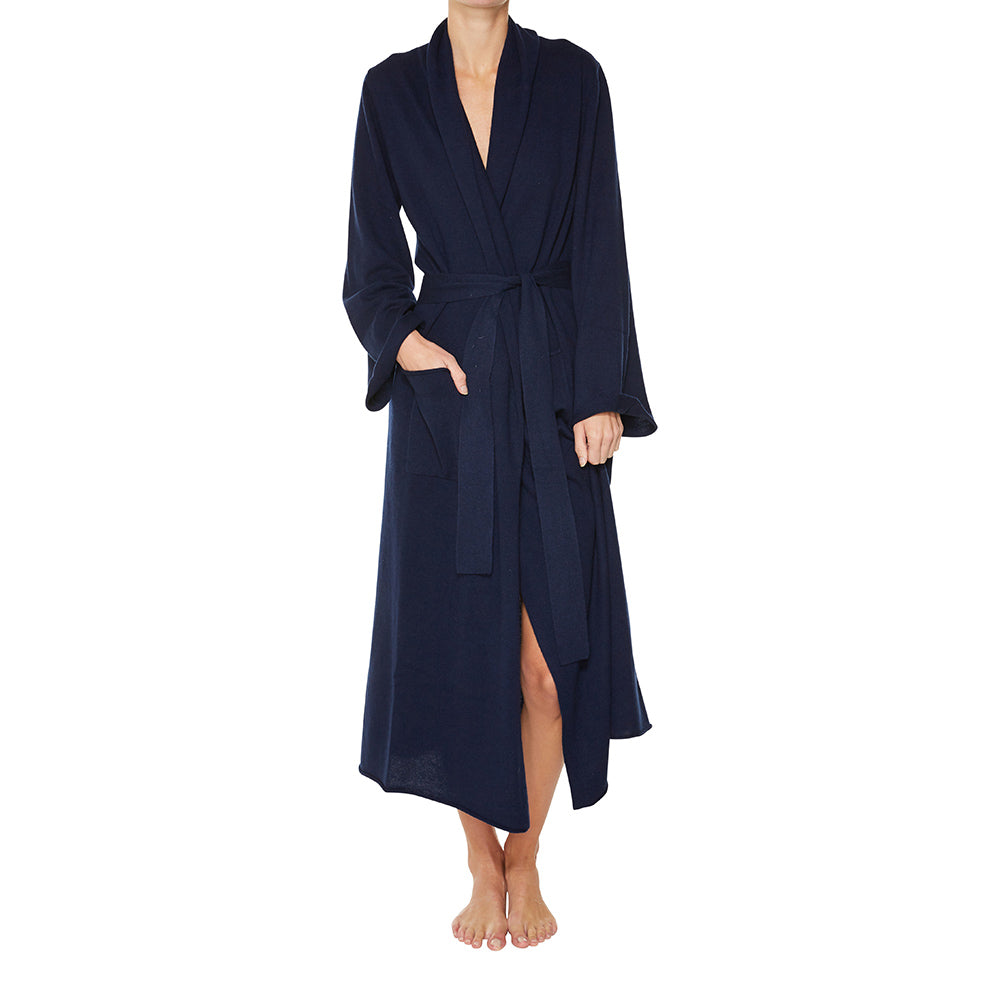 Cashmere Luxe Lounge Robe in Dark Navy - sonyahopkins.com