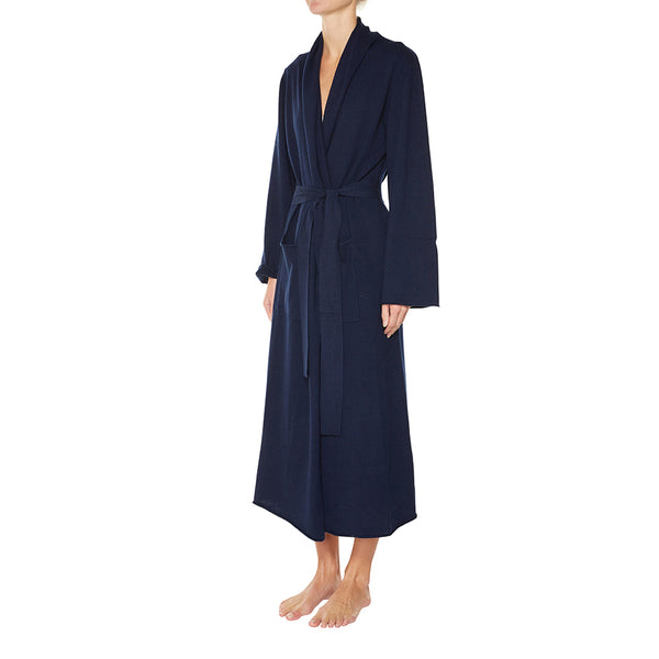 Cashmere Luxe Lounge Robe in Navy - sonyahopkins.com