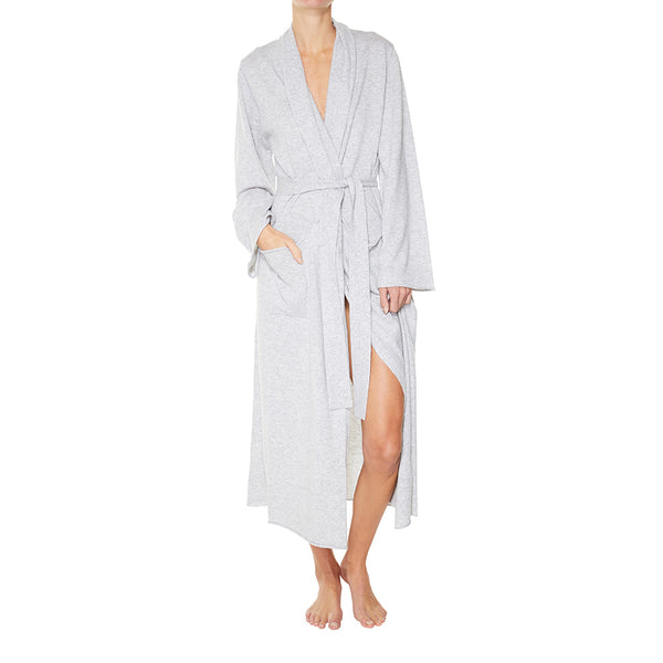 Cashmere Luxe Lounge Robe in Pale Marle Grey - sonyahopkins.com