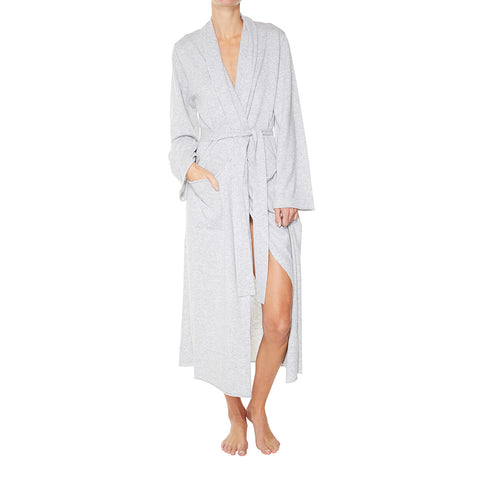 Luxe Cashmere Lounge Robe in Pale Marle Grey - sonyahopkins.com
