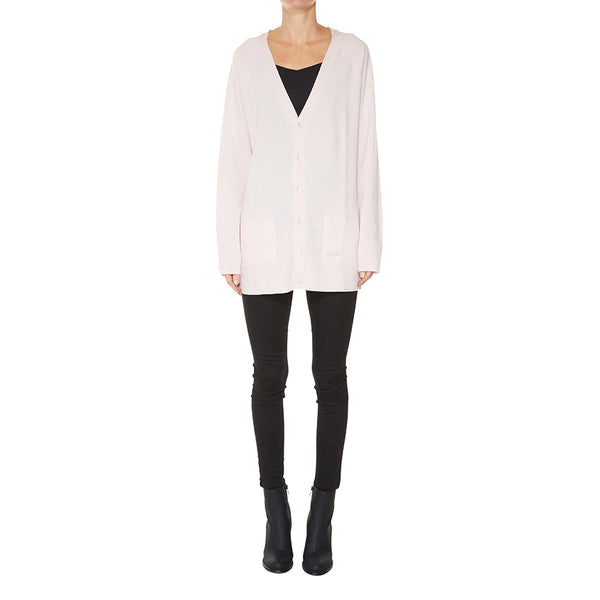 Cashmere James Boyfriend Cardigan in Powder Pink - sonyahopkins.com