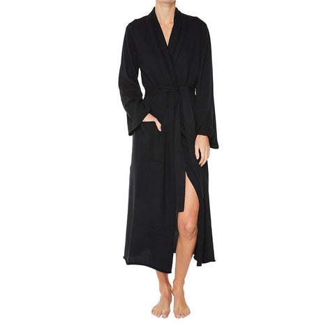 Cashmere Luxe Lounge Robe in Black - sonyahopkins.com