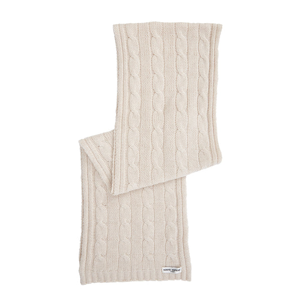 Cashmere Cable Knit Anna Scarf in Pale Marle Beige - sonyahopkins.com