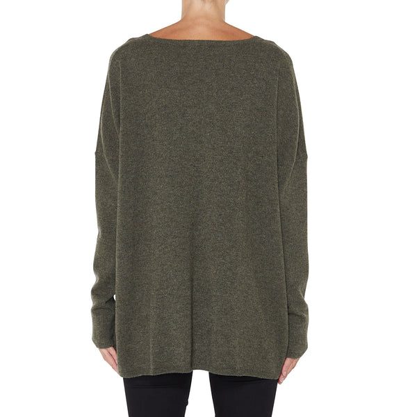 Cashmere Zoe Oversized V in Army Green - sonyahopkins.com