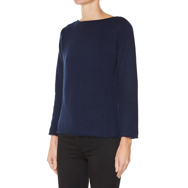 Cashmere Riviera Boatneck in Navy - sonyahopkins.com
