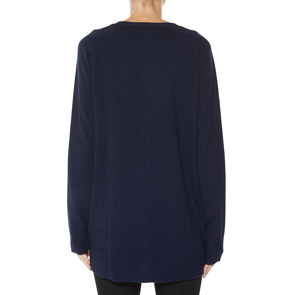 Cashmere James Boyfriend Cardigan in Classic Navy - sonyahopkins.com