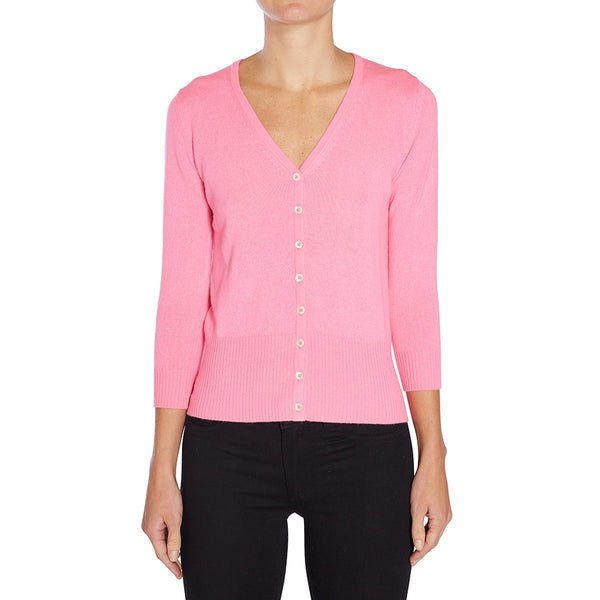 Silk + Cashmere Audrey Cardigan in Neon Pink - sonyahopkins.com
