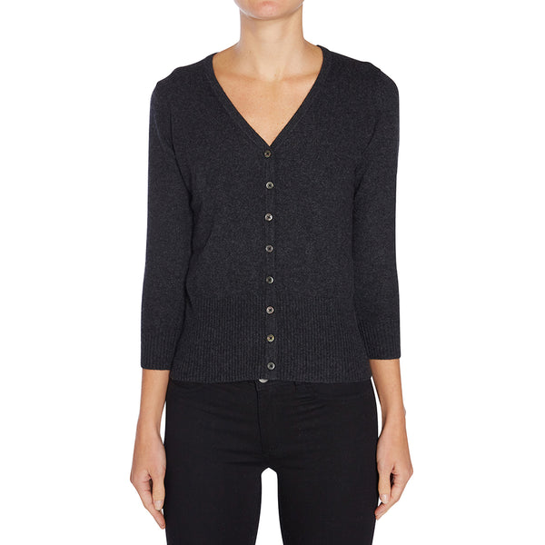 Silk + Cashmere Audrey Cardigan in Dark Charcoal Marle - sonyahopkins.com