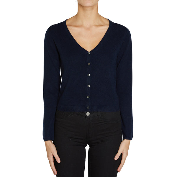Cashmere Rhian V-neck Cardigan in Ink - sonyahopkins.com