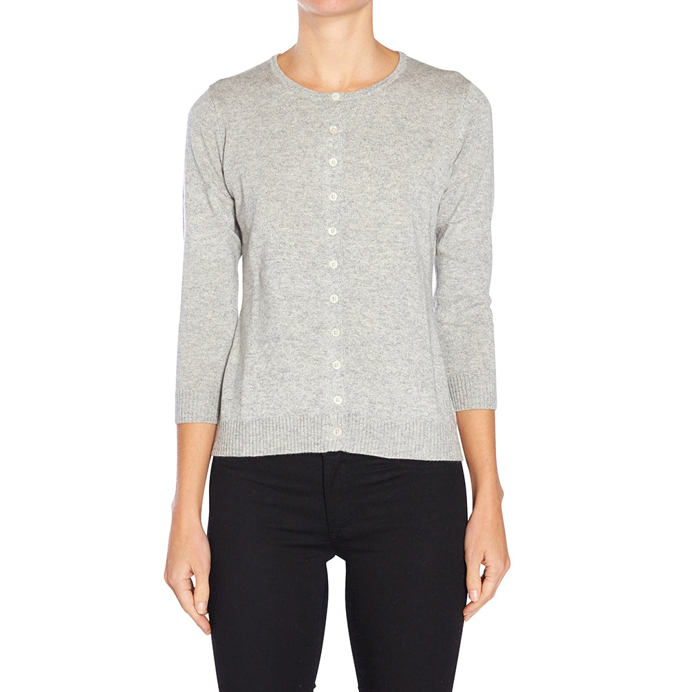 Silk + Cashmere Victoria Cardigan in Pale Grey Marle - sonyahopkins.com