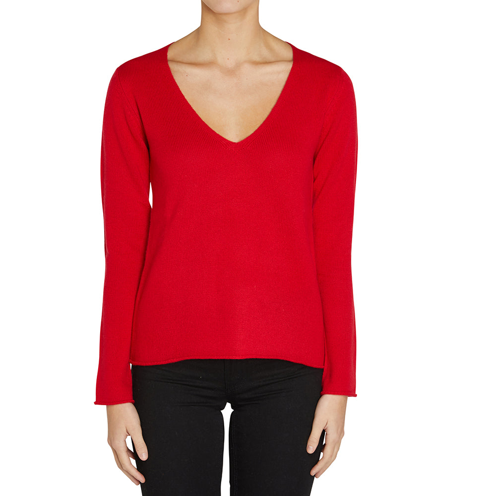 Cashmere Megan Low V-neck in Red - sonyahopkins.com