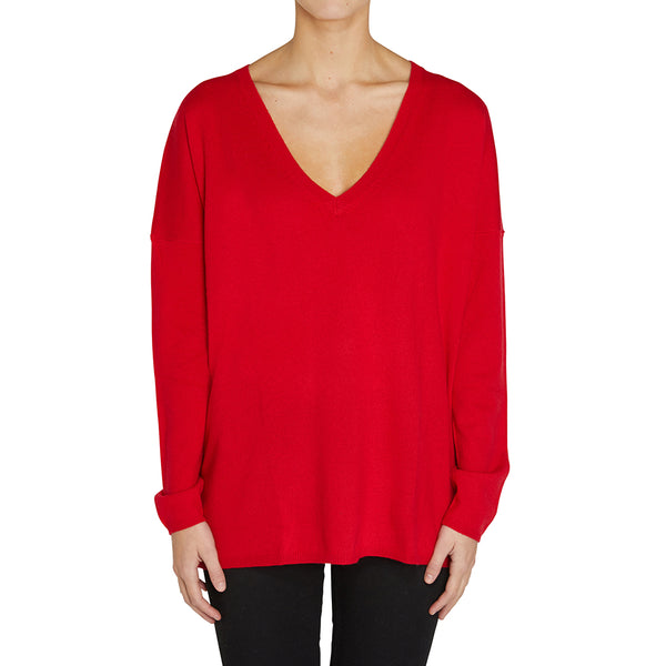 Cashmere Zoe Oversized V in Red - sonyahopkins.com