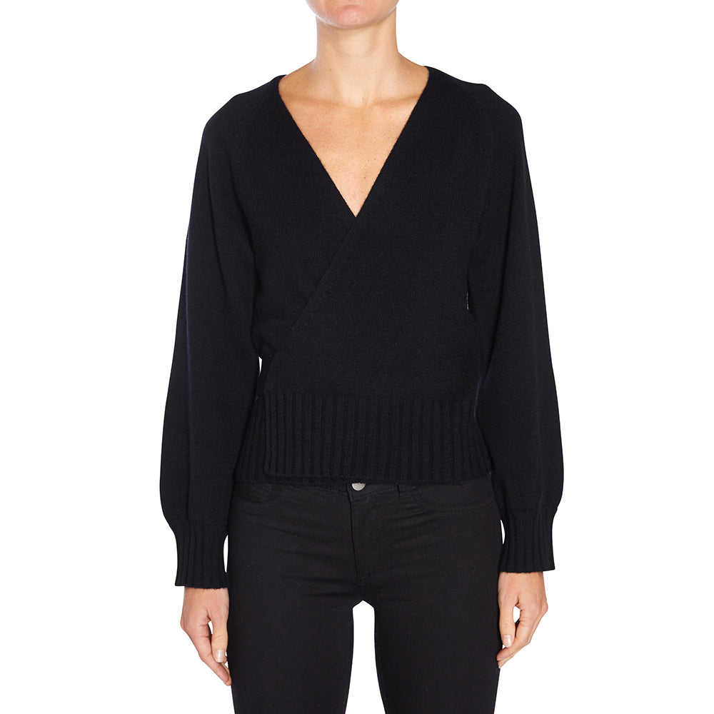 Cashmere Stevie Ballet Wrap in Black - sonyahopkins.com