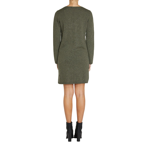 Cashmere Evie V-neck Sweater Dress in Army - sonyahopkins.com