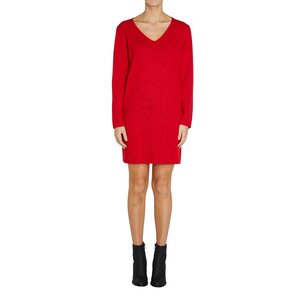 Sonya Hopkins pure cashmere knitted v-neck sweater dress in red