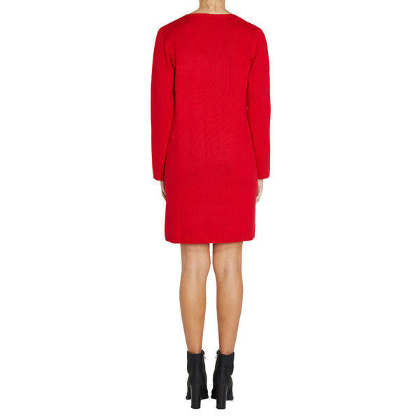 Cashmere Evie V-neck Sweater Dress in Red - sonyahopkins.com