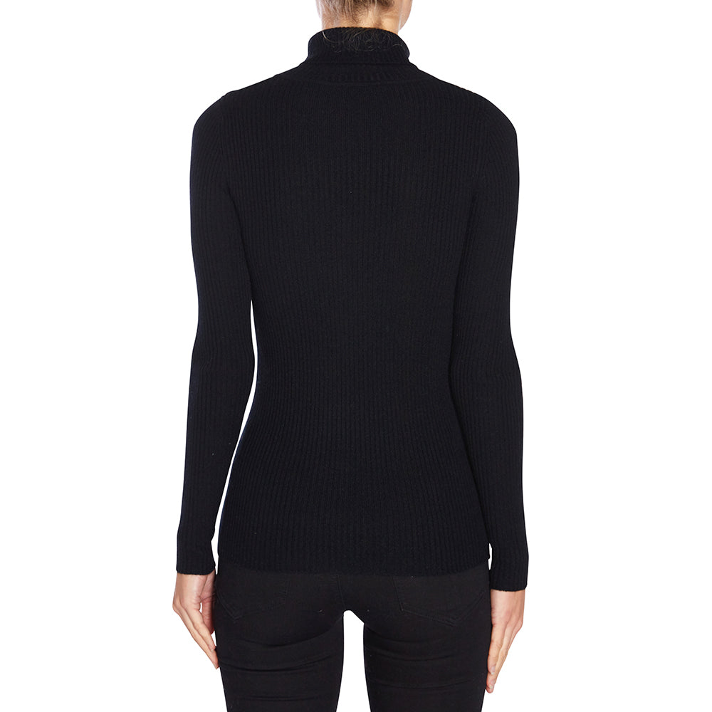 Cashmere Twiggy Rib Knit Turtleneck in Black - sonyahopkins.com
