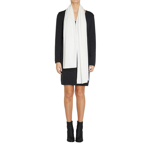 100% Cashmere Jean Scarf in Winter White - sonyahopkins.com