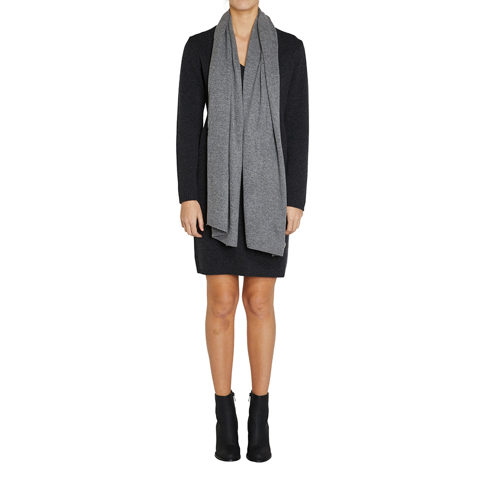 100% Cashmere Jean Scarf in Charcoal Marle Grey - sonyahopkins.com