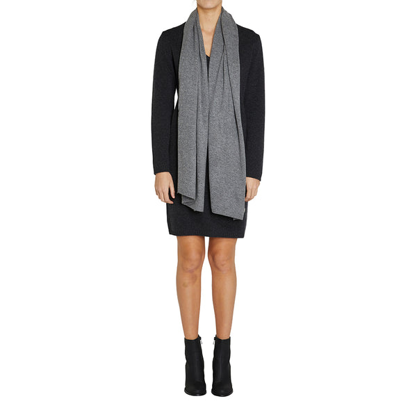 Sonya Hopkins pure cashmere scarf in charcoal marle grey