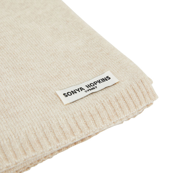 Sonya Hopkins pure cashmere scarf in pale marle beige