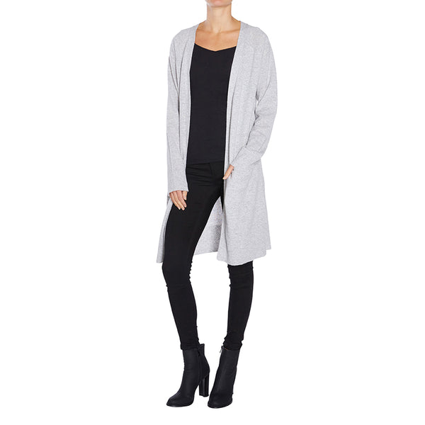 Cashmere Blaze Long Cardigan in Pale Marle Grey - sonyahopkins.com