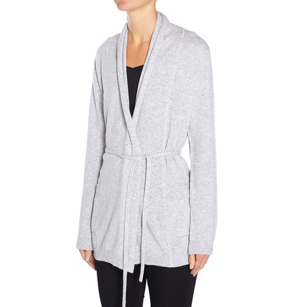 Cashmere Kat Cardigan with pockets & thin tie in Pale Marle Grey - sonyahopkins.com