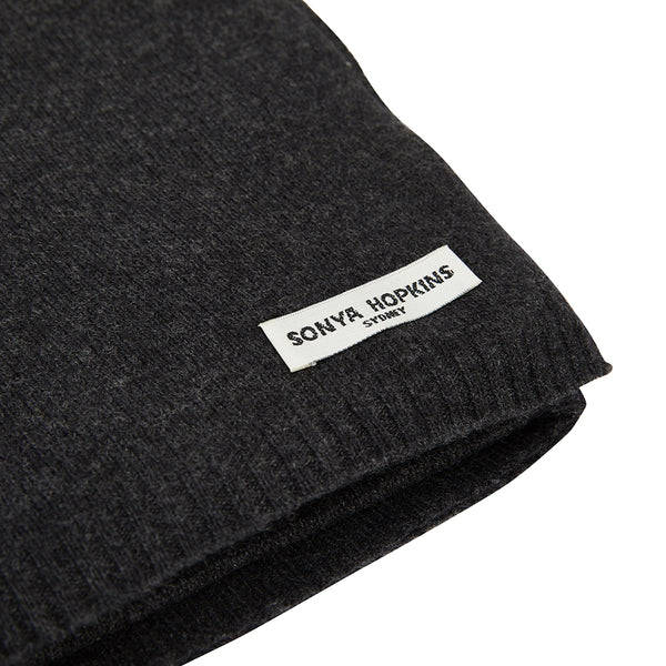 100% Cashmere Jean Scarf in Dark Charcoal Marle Grey - sonyahopkins.com