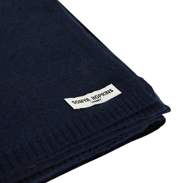 Sonya Hopkins pure cashmere scarf in ink or French navy