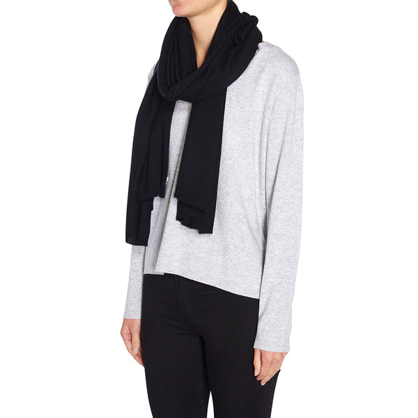 100% Cashmere Jean Scarf in Black