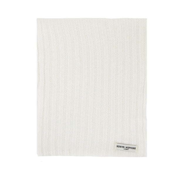 Cashmere Alex Rib Scarf in Winter White - sonyahopkins.com