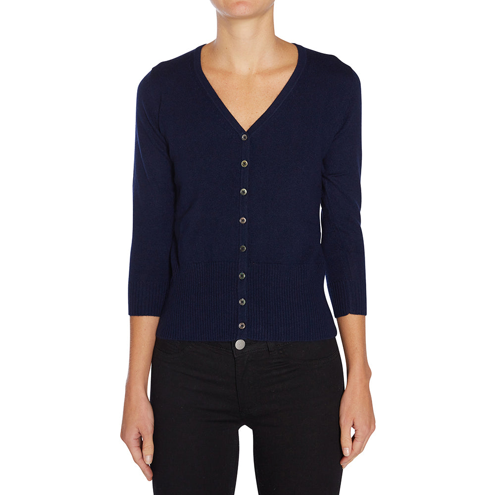 Silk + Cashmere Audrey Cardigan in Navy - sonyahopkins.com