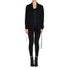 Cashmere Kat Cardigan with pockets & thin tie in Black - sonyahopkins.com