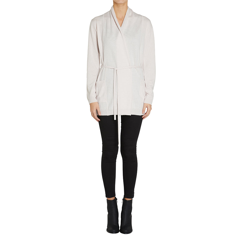 Cashmere Kat Cardigan with pockets & thin tie in Blush - sonyahopkins.com