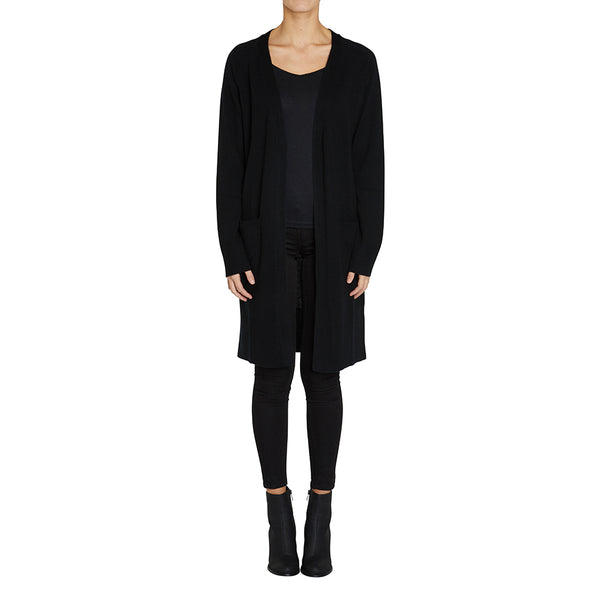 Cashmere Blaze Long Cardigan in Black - sonyahopkins.com