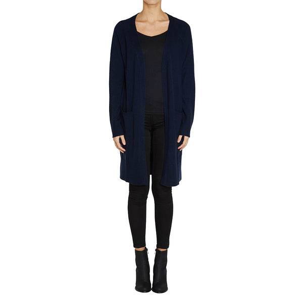 Cashmere Blaze Long Cardigan in Ink - sonyahopkins.com