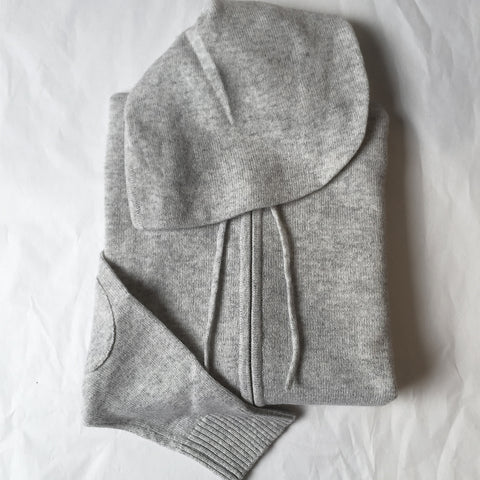 Kids Cashmere Hoody in Pale Marle Grey